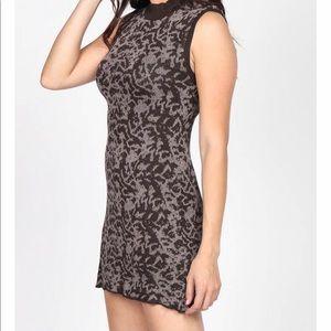 New M. Rena jacquard mock neck dress